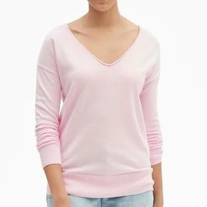 NWT Gap Pink Drop-Shoulder V-Neck Sweater S